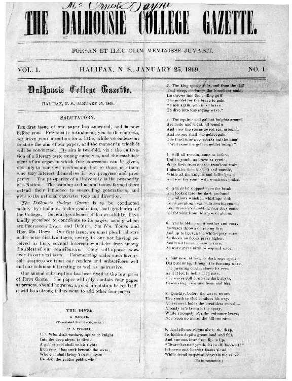Dalhousie College Gazette, Volume 1, Issue 1
