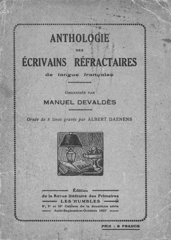 Book cover: Anthologie des écrivains réfractaires