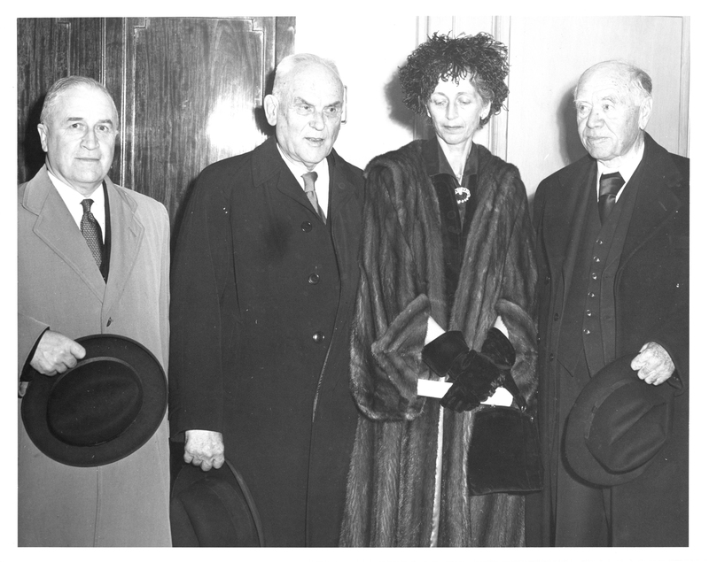 Photograph of A. E. Kerr, C. D. Howe, Lady Dunn, and Lord Beaverbrook