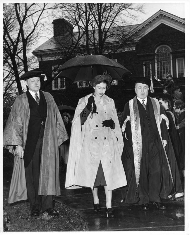 Photograph of Colonel K. C. Laurie, Princess Elizabeth, and Dr. A. E. Kerr