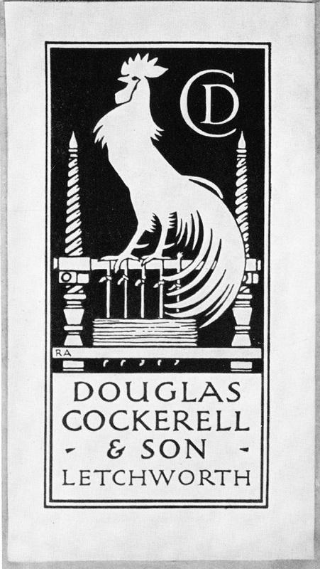 Photograph of the bookplate of Douglas Cockerell & Son