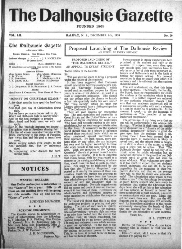 Page 1 of the Dalhousie Gazette, Volume 52, Issue 20