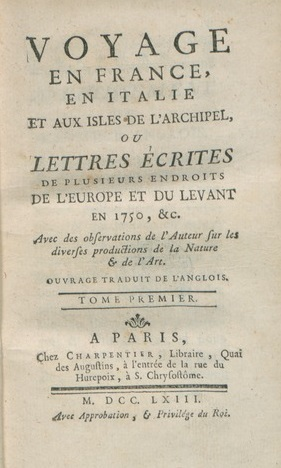 Title page of Jérôme Lalande's travel narrative