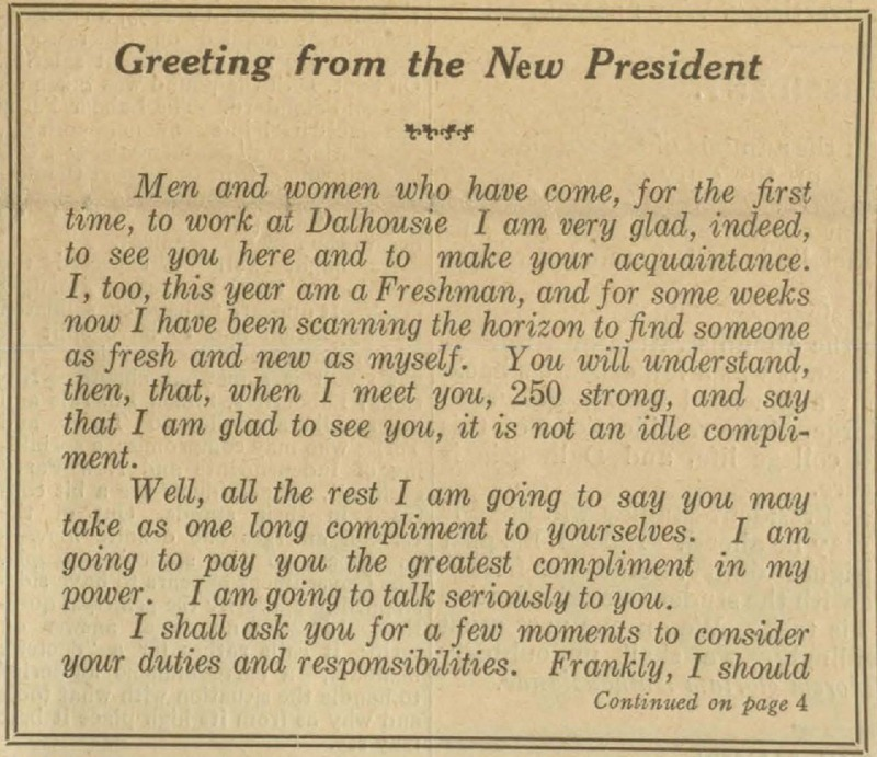 Greeting from the New President