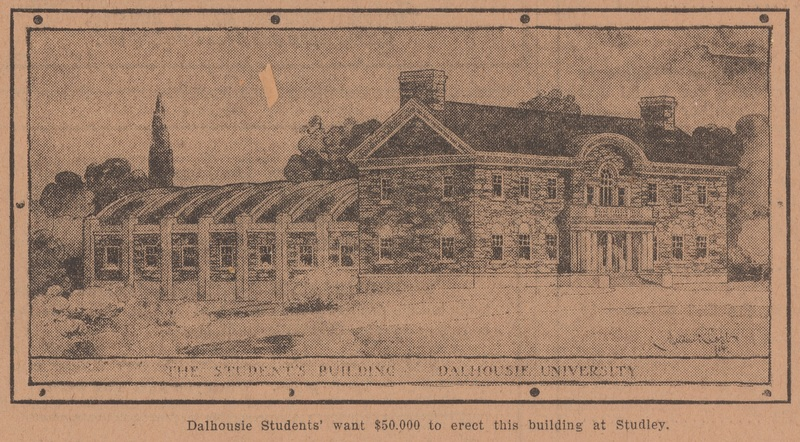 Drawing of the proposed students' building from the front page of the Dalhousian, Volume 1, Issue 3