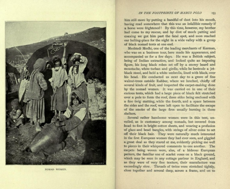 Excerpt and photograph from Ella C. Sykes 1898 travel memoir 'Through Persia on a Side-Saddle'