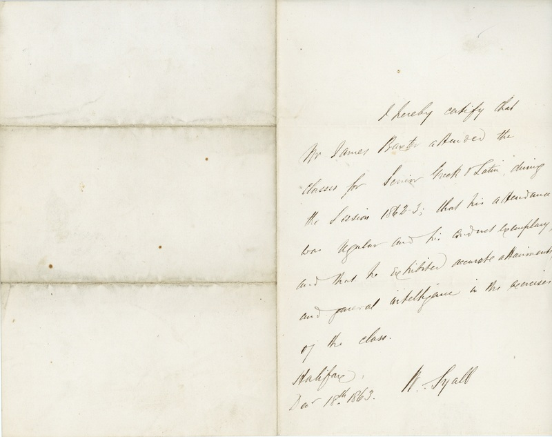 Letter from Mr. Lyall certifying that James Baxter attended Greek and Latin classes