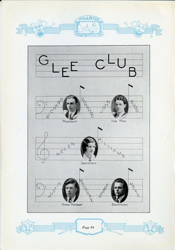 Yearbook page about the Dalhousie Glee Club
