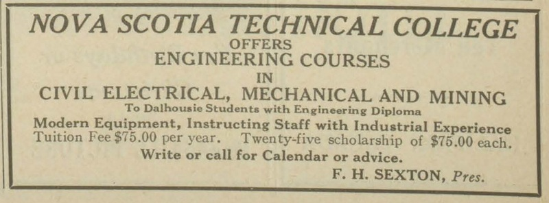 Advertisement for the Nova Scotia Technical College