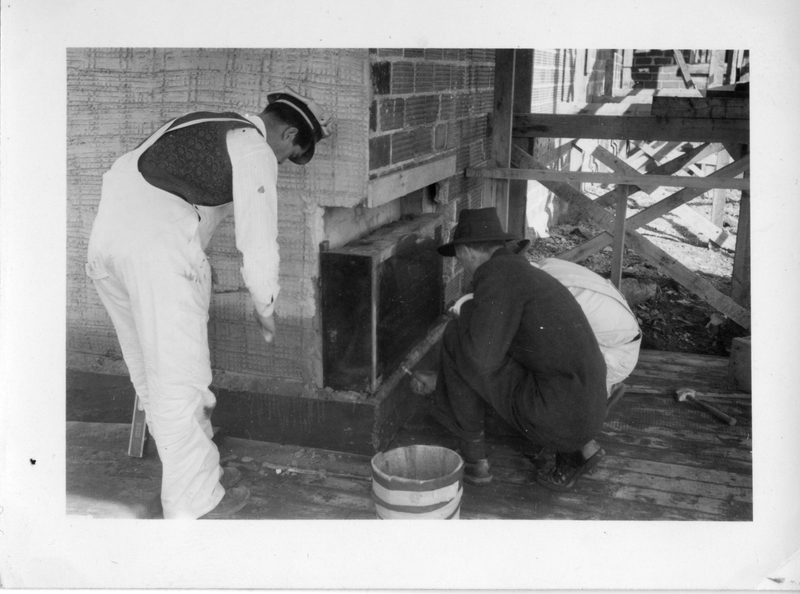 Photograph of the cornerstone of the Arts & Administration Building being laid