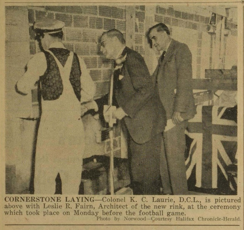 Photograph of K. C. Laurie laying the cornerstone for a hockey rink