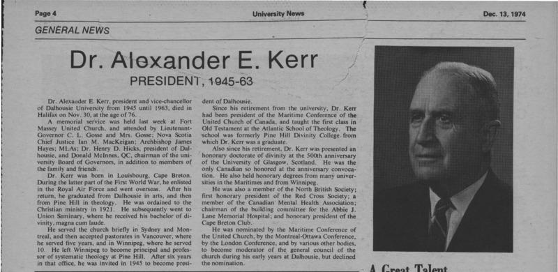 Dr. Alexander E. Kerr: President, 1945-63
