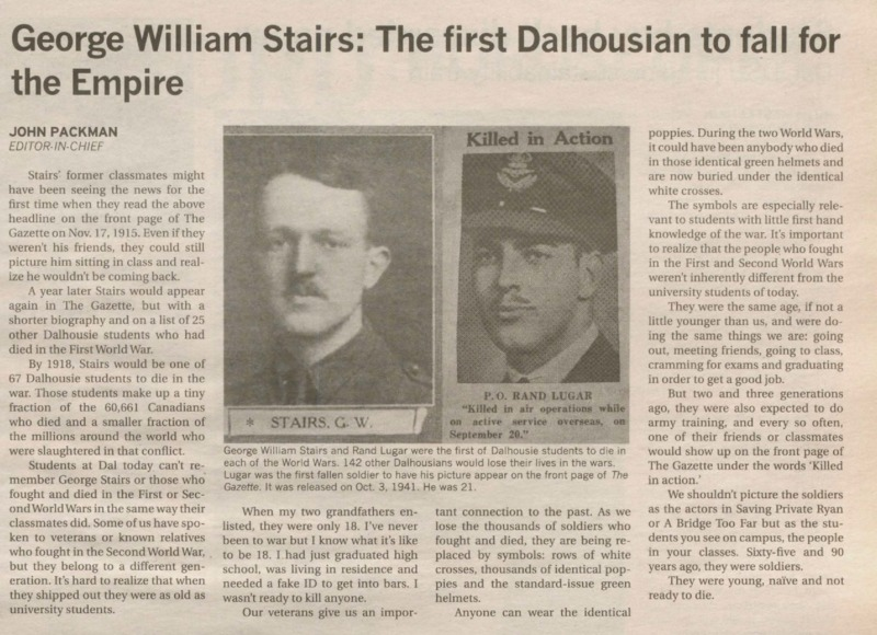 George William Stairs: The First Dalhousian to Fall for the Empire