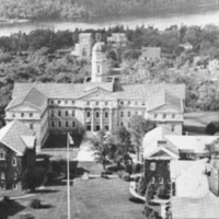 Aerial view of the Henry Hicks Arts & Administration Building