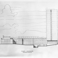 Drawing of the east elevation of the Sir Charles Tupper Medical Building