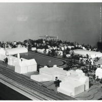 Photograph of a model of Studley campus