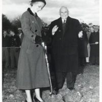 Photograph of Lady Dunn turning sod