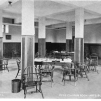 Postcard of the men's common room in the Arts Building