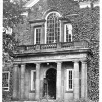 Postcard of the MacDonald Memorial Library entrance