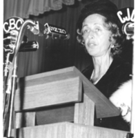 Photograph of Lady Dunn speaking at the opening ceremony of the Sir James Dunn Building