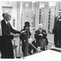 Photograph of Horace Read addressing guests at the opening of the Weldon Law Building