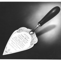Photograph of the trowel used by Lady Dunn to lay the cornerstone of the Sir James Dunn Science Building