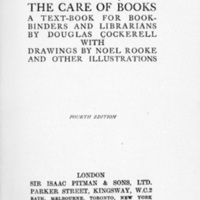 Title page of <em>Bookbinding, and the Care of Books: A Text-Book for Book-Binders and Librarians</em>
