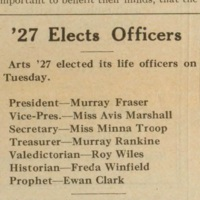 '27 elects officers