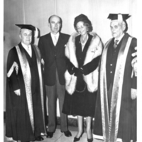Photograph of Lady Dunn and others at the opening ceremony of the Sir James Dunn Building