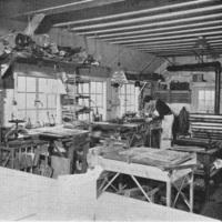 Photograph of Douglas Cockerell's workshop