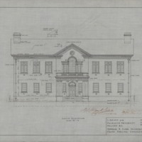 Technical drawing of the south elevation of a library for Dalhousie University