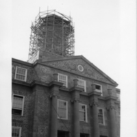 Photograph of the Arts & Administration Building clock tower construction