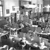 Photograph of students in the Macdonald library reading room