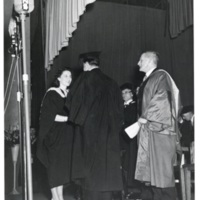 Photograph of Elizabeth Atkins receiving the Governor General's Medal