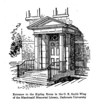 A drawing of the entrance to the Kipling Room