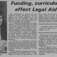 Funding, curriculum affect Legal Aid