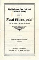 Dalhousie Glee and Dramatic Club - 'Final Show for 1933, Munro Day' program